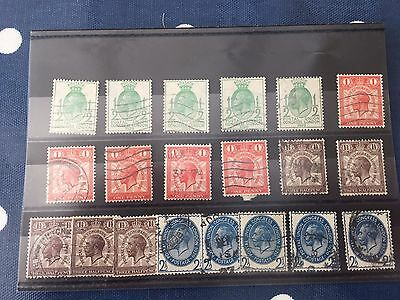 GB UK King George VI stock card with 5 x lower values tidy used.