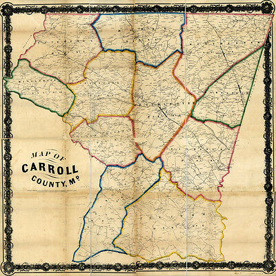 1863 Map of Carroll County Maryland