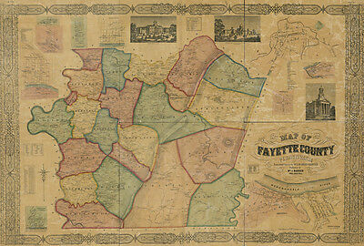 1858 Map of Fayette County Pa from actual surveys Uniontown Monongahela River