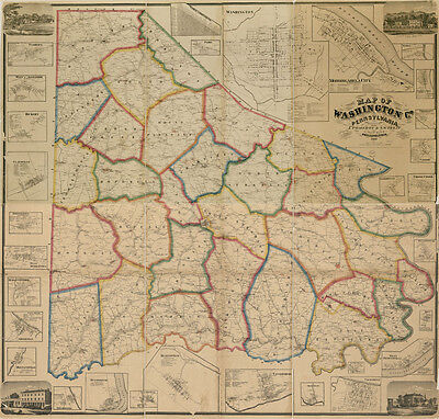 1861 Map of Washington County PA from actual surveys LARGE 40 x 42