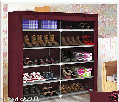 * *** Red Wine Dust-Proof Steel Frame Thicken Non-Woven DIY Shoe Cabinet