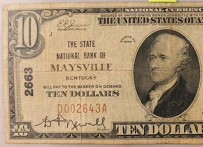 1929 $10 National Bank Note  State Maysville Kentucky  Ch #2663 Type 1 Very Rare