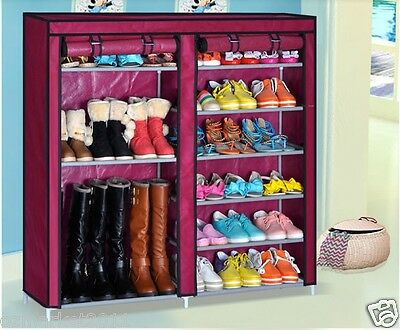 * Red Dust-Proof Steel Frame Non-Woven L120*W30*H115CM 2 Row DIY Shoe Rack!@^