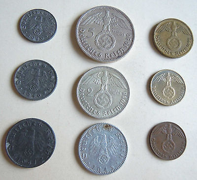WW2 COIN, NAZI COIN  , 1936-1945 GERMANY complet SET 9 COINS 2 SILVER