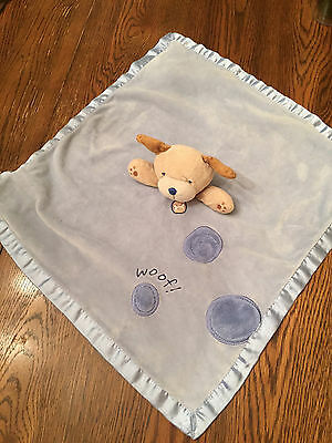 Carters Blue & Brown Plush Rattle Puppy Dog Baby Security Blanket Lovey Satin