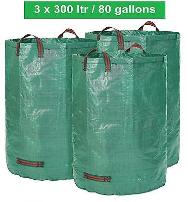 GloryTec Garden Waste Bag 3 x 300 Liters | Large and Extra Strong Garden Bags...