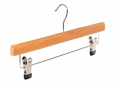 Natural wooden coat clothes hangers with clips and bar for trousers skirts-Ch...