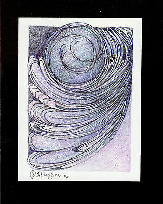 """Abstract Pencil Drawing """"Midnight Moon"""" 6.0"""" x 4.5"""" Artist Signed Original 21"""