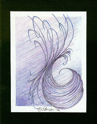 """Abstract Pencil Drawing """"Foreshadowing"""" 6"""" x 4.5"""" Artist Signed Original 5"""
