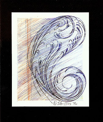 """Abstract Pencil Drawing """"Paisley & Lace"""" 5.5"""" x 4.5"""" Artist Signed Original 20"""