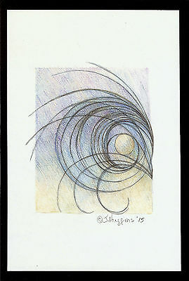 """Abstract Pencil Drawing """"Winter Sunrise"""" 9.0in x 6.0in Signed Original #074"""