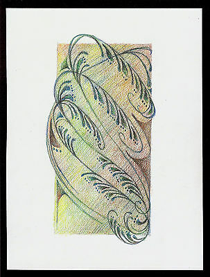"""Abstract Pencil Drawing """"Uphill Struggle"""" 7.8in x 5.8in Signed Original #056"""