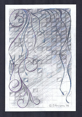"""Abstract Pencil Drawing """"Twilight Vines"""" 9in x 6in Signed Original 102*"""