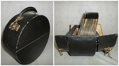 *vintage Records In Double Locking Round Black Winel Carry/travel/display Case*