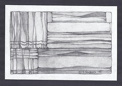 """Abstract Pencil Drawing """"Cabin Window"""" 6in x 9in Signed Original 104*"""