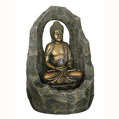 BUDDHA - Zen Arch Cave Indoor / Outdoor Water Feature Fountain - Gold / Grey