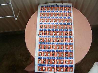 SHEET OF 80  GB 3d STAMPS  CHRISTMAS 1966 inc TRAFFIC LIGHTS