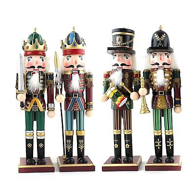 Set of 4 Christmas Holiday Wooden Nutcrackers Soldiers 30 cm Tall On Stand Gi...