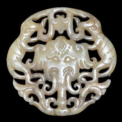 Old Chinese antique Jade hand-carved Beast Statue Pendants Amulet~Elephant