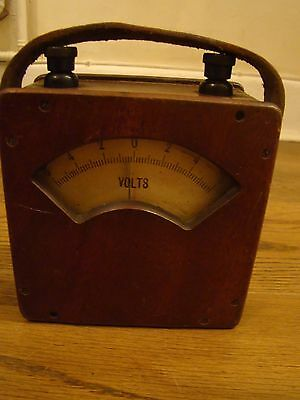 Vintage Wooden Battery Tester With Leather Strap