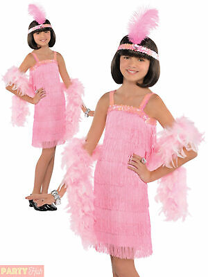 Girls Pink Charleston Flapper Costume Child 1920s Gatsby Fancy Dress Kids Outfit