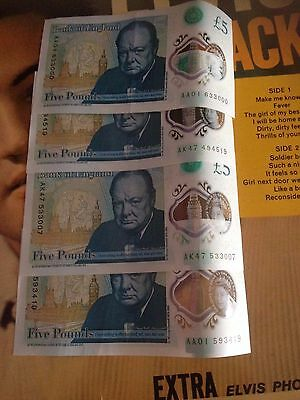5 Pound Note £5 - Serial No with AK47 007,AK47,AA01,VERY RARE AA0163000