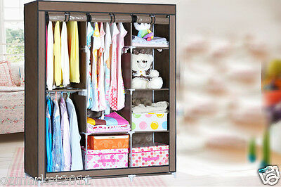 * Coffee Dust-Proof Collapsable Steel Frame Non-WovenL130*W46*H170 DIY Wardrobe