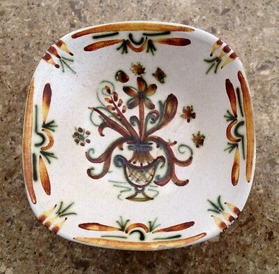 """Handcrafted French Faience Keraluc Quimper Signed Bowl 6.5""""sq. 2.25""""h"""