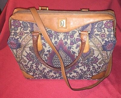 Vintage Hartmann Tapestry Flame Leather Bag Carry On Luggage Overnight Tote