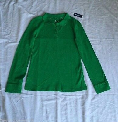 Old Navy Girls Green Long Sleeve Polo Style Shirt Size 10/ 12 Large NWT
