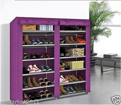 * Purple Non-Woven Cover Steel Tube DoubleRow 6 Layers Spaces DIY Shoe Cabinet