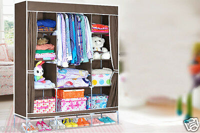 * Coffee Dust-Proof Collapsable Steel Frame Non-WovenL140*W46*H175 DIY Wardrobe!