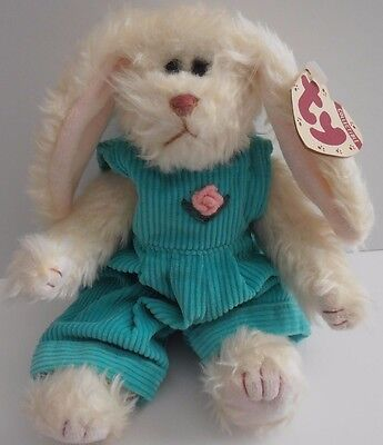 "Ty Attic Treasures *IVY the Bunny Rabbit*  1993 8"" w/ TAGS Beanie Plush Spring"