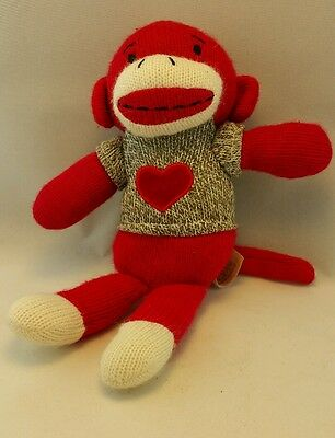 DanDee sock monkey red with gray shirt red heart