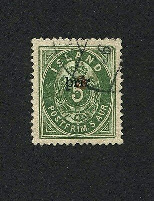"ICELAND 1897 5Aur ""Numeral"" 3prir (small) Ovpts: Used- Nielsen Cert. S#32b"