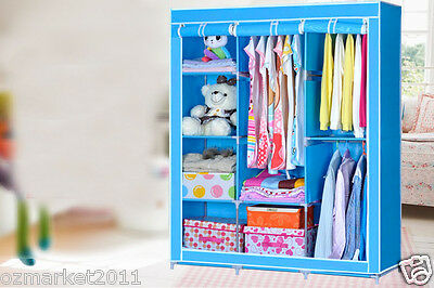 * Blue Dust-Proof Collapsable Steel Frame Non-Woven L130*W46*H170 DIY Wardrobe!