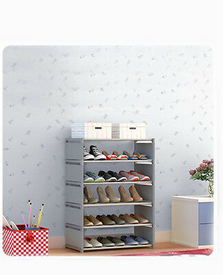 Silver Gray Dust-Proof Non-Woven Steel Frame L60*W30*H95CM 5 Layers Shoe Rack !