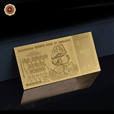 WR Zimbabwe 100 Trillion Dollars Gold Banknote Plated With Gold Note Collection