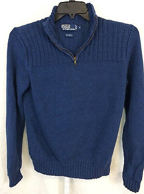 Polo Ralph Lauren 1/4 Zip Pullover Sweater Size Small Navy Blue