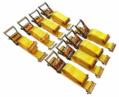 8-Pack 15' E-Track Ratchet Tie Down Strap Cargo Van Truck Enclosed Trailer