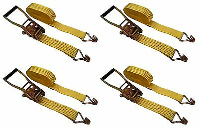 "4 Pack 2"" inch x 27' Ft Ratchet Straps 5000 Lbs J Hooks Tie Down Cargo"