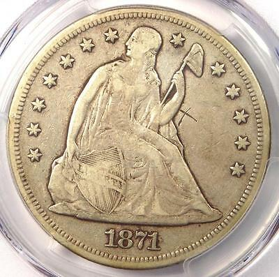 1871 Seated Liberty Silver Dollar $1 - PCGS VF Details - Rare Certified Coin!