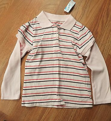 NEW OLD NAVY:  Girls PINK Striped, L/S  Top, NWT:   4T