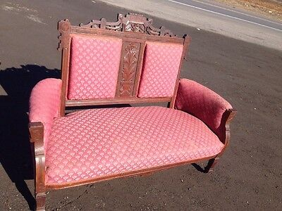 Antique Settee Eastlake carved details Couch Loveseat Love- Seat Sofa