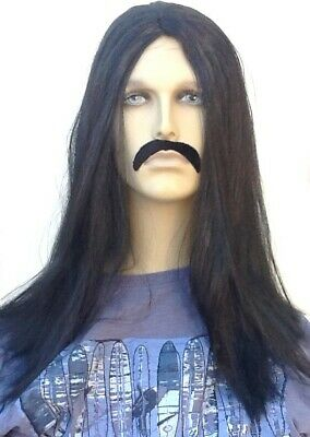 LONG STRAIGHT BLACK FANCY DRESS WIG & SELF ADHESIVE DROOP MOUSTACHE. UK Dispatch