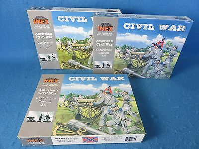 IMEX Confederate Artillery For Civil War Toy Soldiers.  3 boxed sets (54MM)