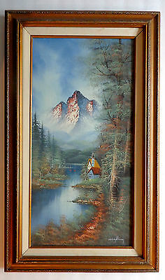 Lake Scene with barn Oil Painting Framed Landscape Original Signed  Vintage