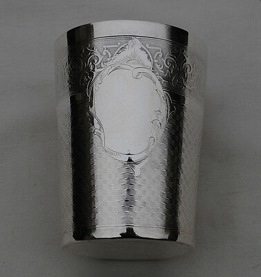 ANTIQUE FRENCH STERLING SILVER Wine Cup, Timbale, Beaker Cup Guilloché Medallion