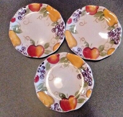 Set of 3 -Better Homes & Gardens Red Yellow Purple Green Fruit White Salad Plate