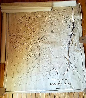 Lot of 5 Vintage Maps of Lawrence MA 1960s City Mass Large